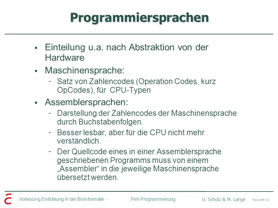 Programmiersprachen Einteilung u.a. nach Abstraktion von der Hardware