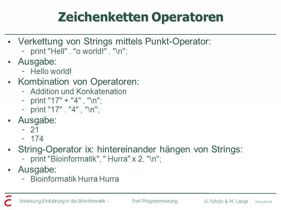 Zeichenketten Operatoren