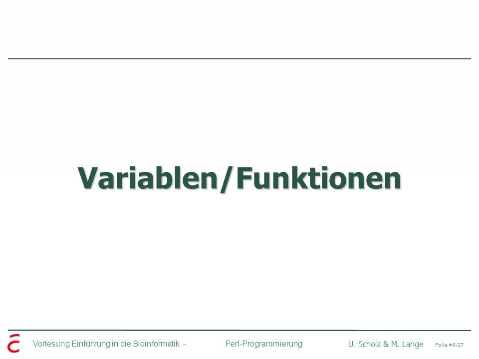 Variablen/Funktionen