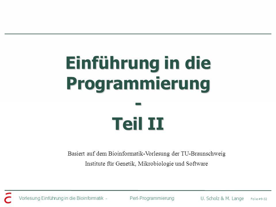 Einführung in die Programmierung - Teil II