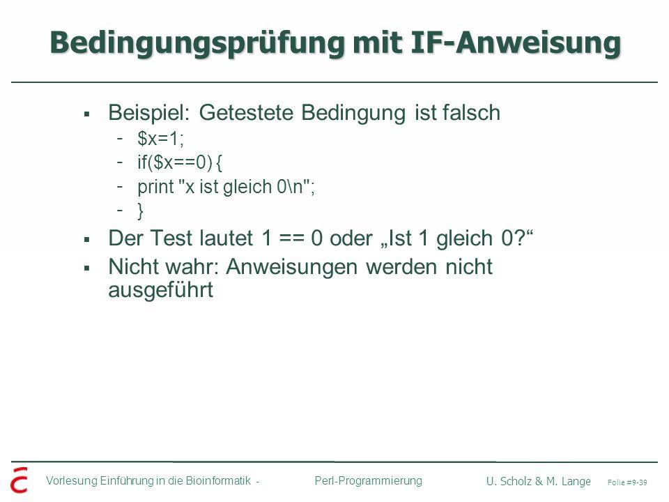 Bedingungsprüfung mit IF-Anweisung