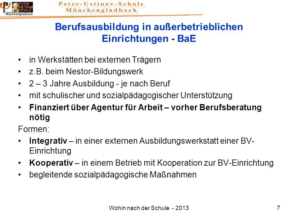 Berufsausbildung in außerbetrieblichen Einrichtungen - BaE