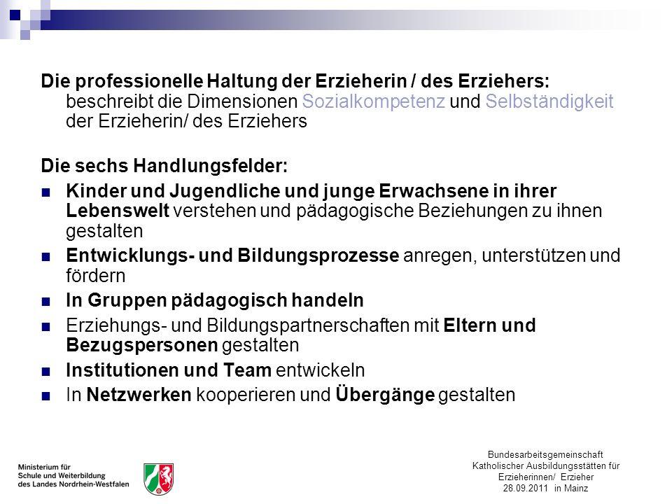 Die professionelle Haltung der Erzieherin / des Erziehers: beschreibt die Dimensionen Sozialkompetenz und Selbständigkeit der Erzieherin/ des Erziehers