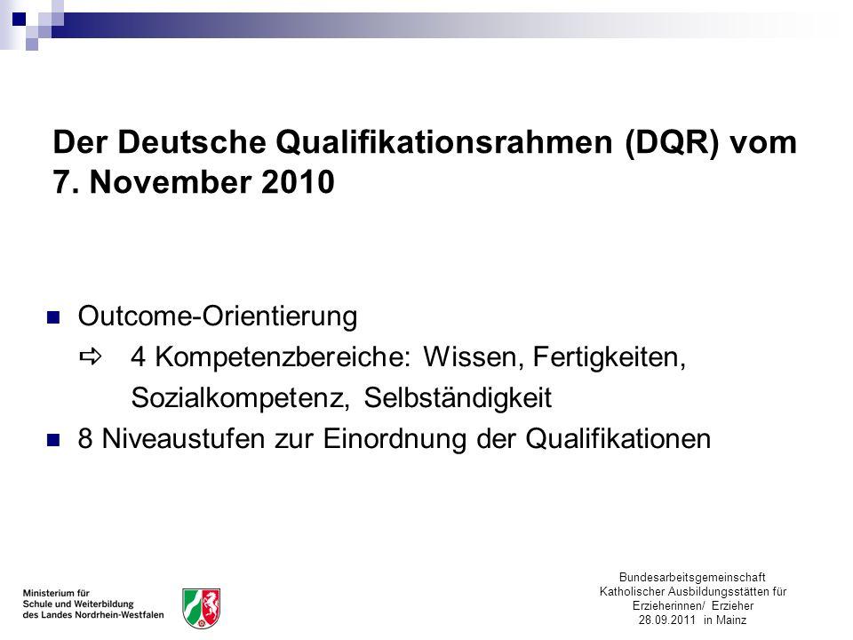 Der Deutsche Qualifikationsrahmen (DQR) vom 7. November 2010