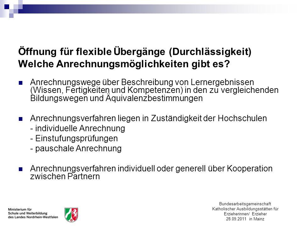 Öffnung für flexible Übergänge (Durchlässigkeit) Welche Anrechnungsmöglichkeiten gibt es