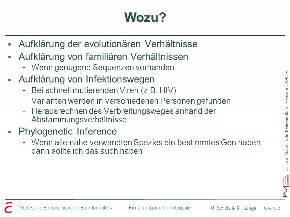 Wozu Aufklärung der evolutionären Verhältnisse