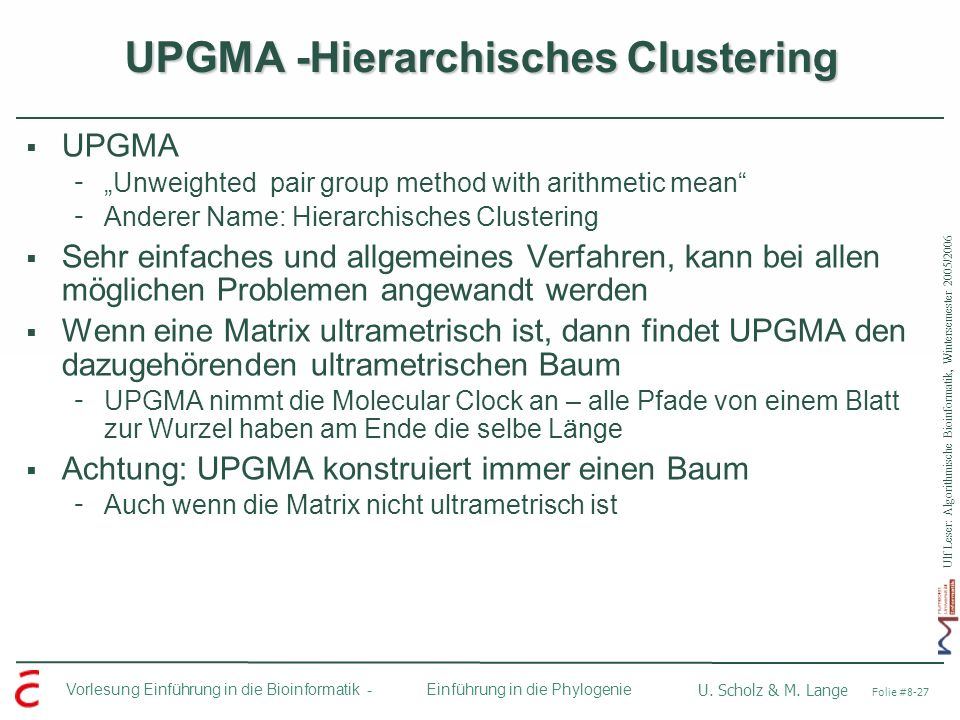 UPGMA -Hierarchisches Clustering