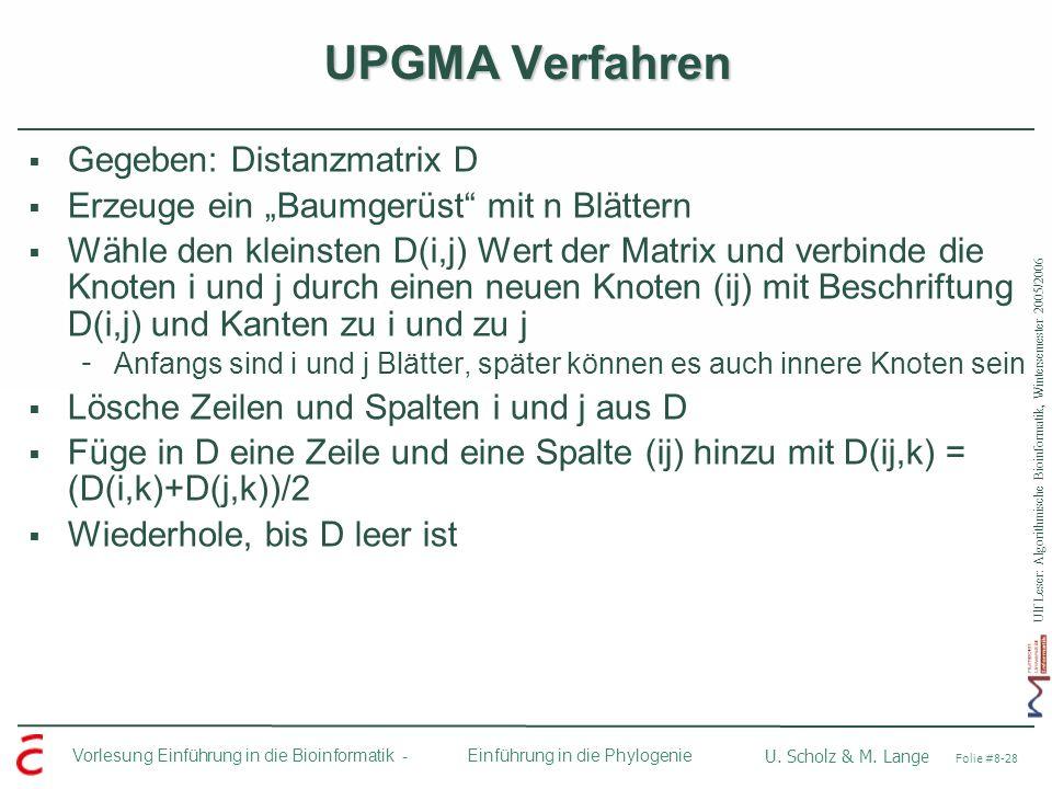 UPGMA Verfahren Gegeben: Distanzmatrix D