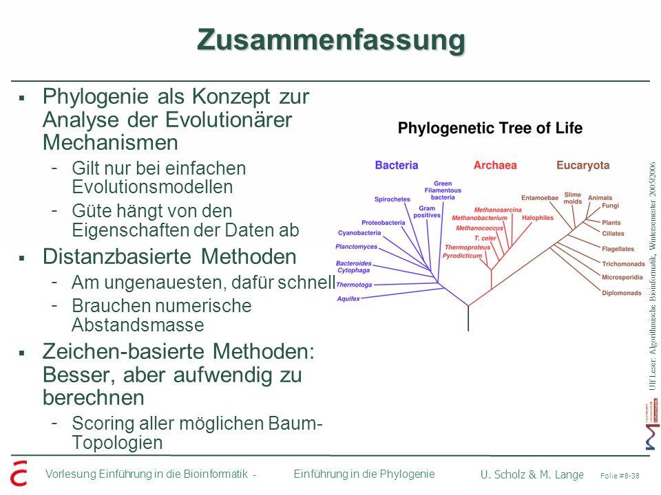 ZusammenfassungPhylogenie als Konzept zur Analyse der Evolutionärer Mechanismen. Gilt nur bei einfachen Evolutionsmodellen.