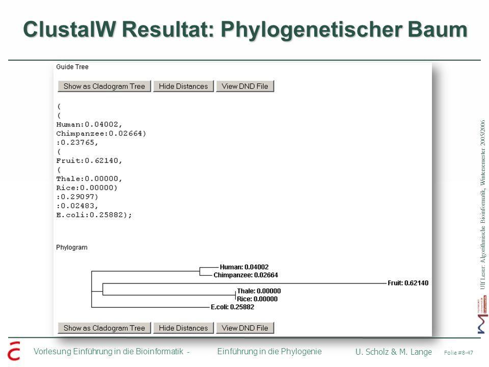 ClustalW Resultat: Phylogenetischer Baum