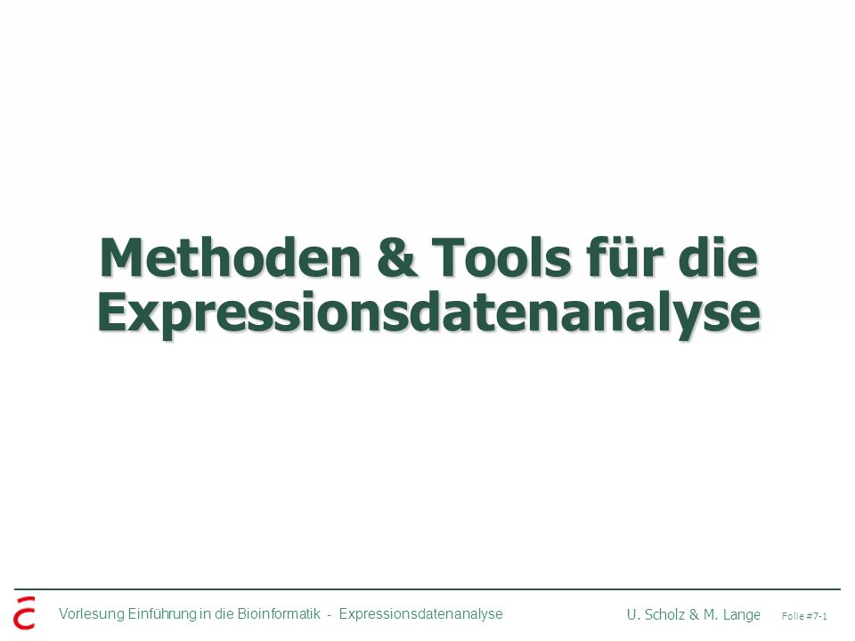 Methoden & Tools für die Expressionsdatenanalyse