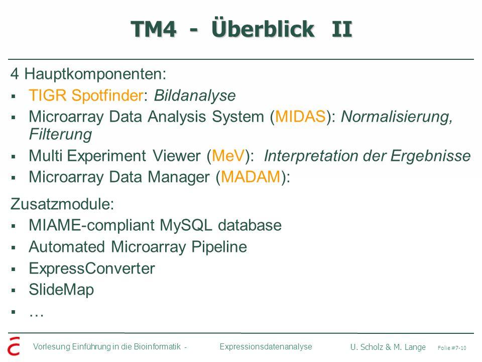 TM4 - Überblick II 4 Hauptkomponenten: TIGR Spotfinder: Bildanalyse