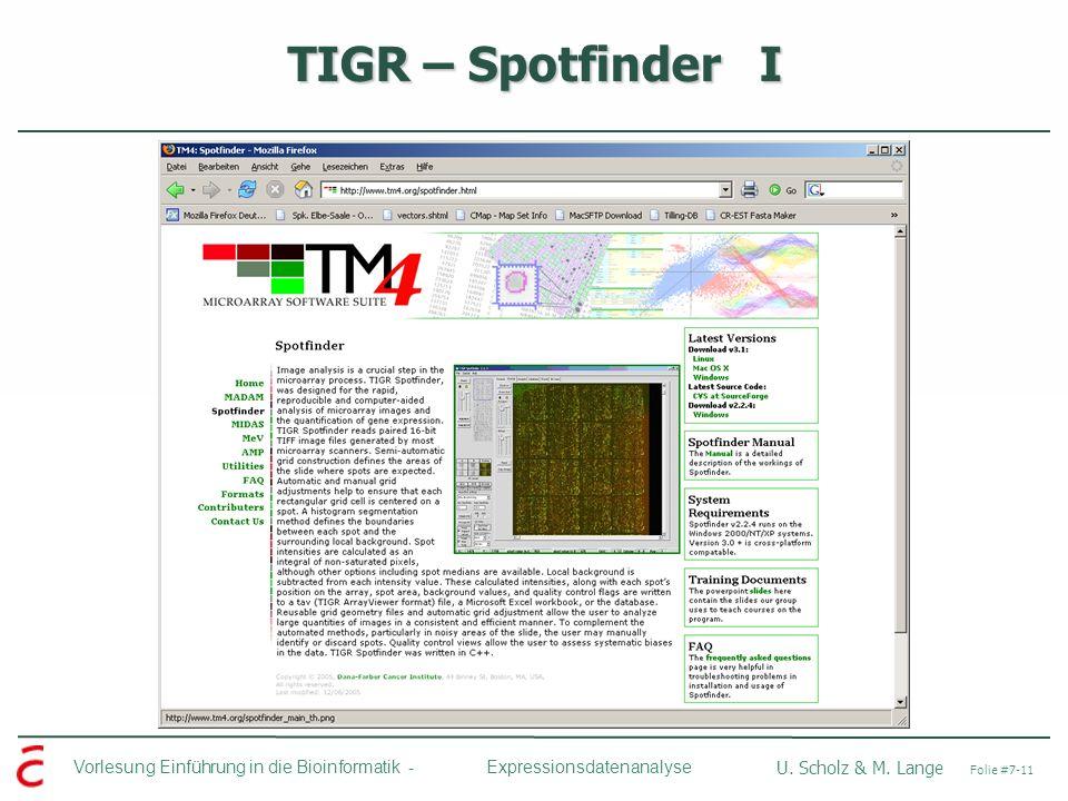 TIGR – Spotfinder I