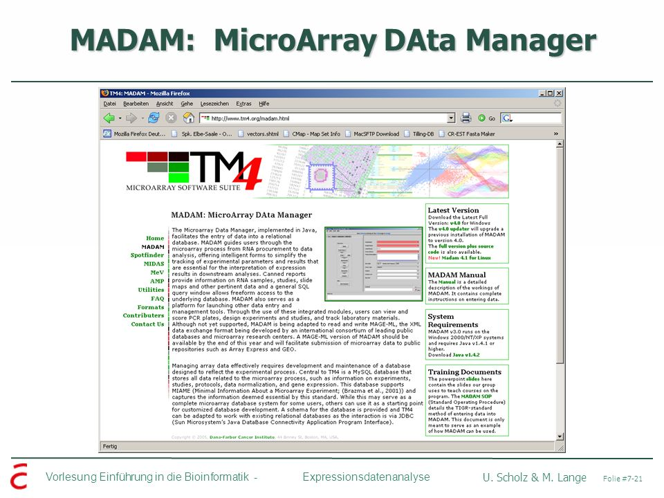 MADAM: MicroArray DAta Manager