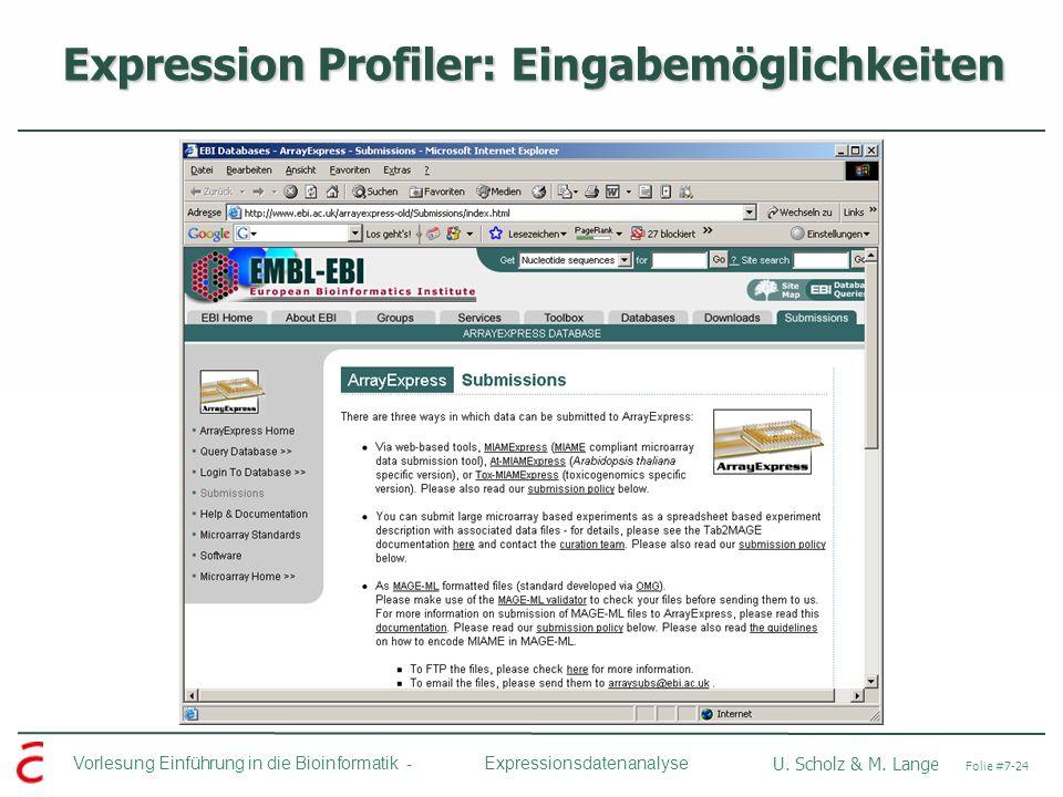Expression Profiler: Eingabemöglichkeiten