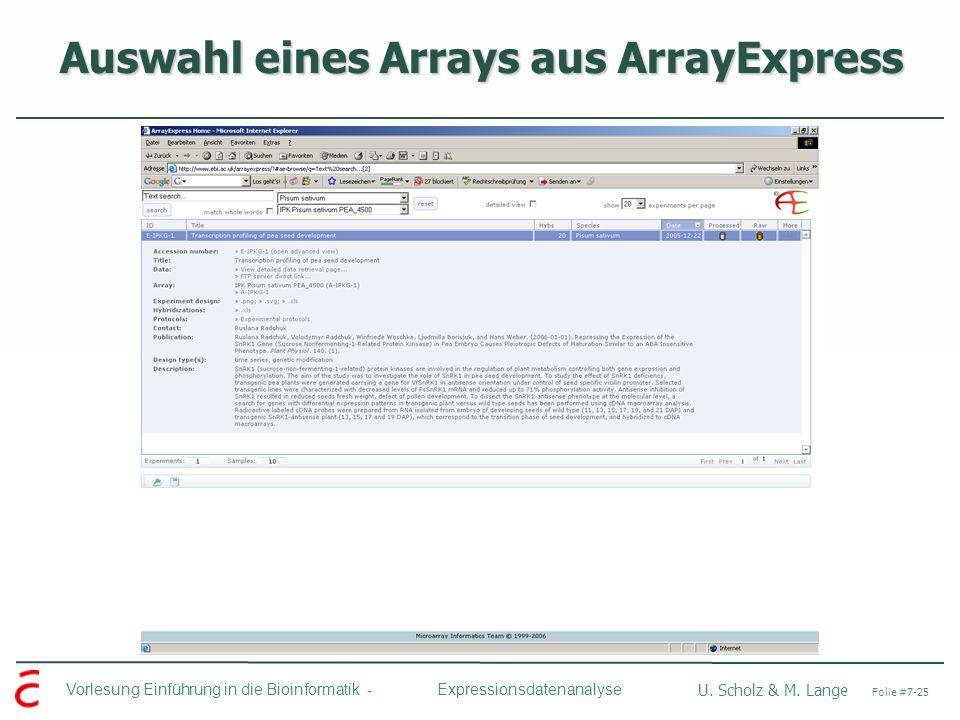 Auswahl eines Arrays aus ArrayExpress
