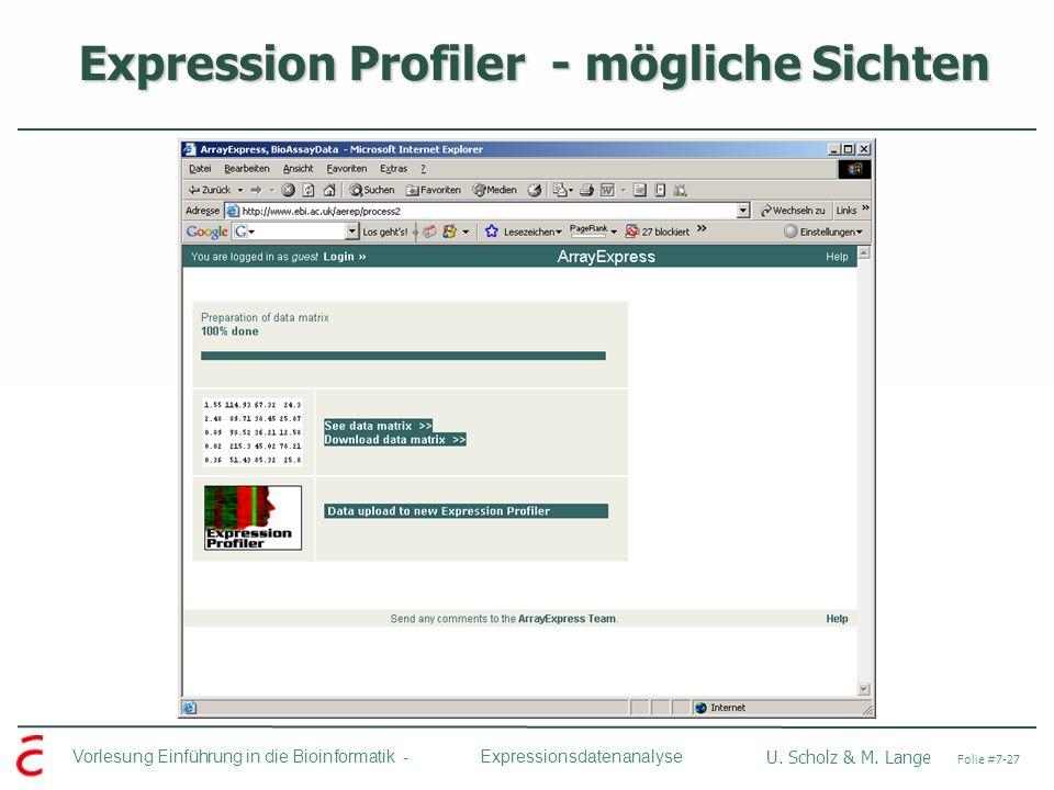 Expression Profiler - mögliche Sichten