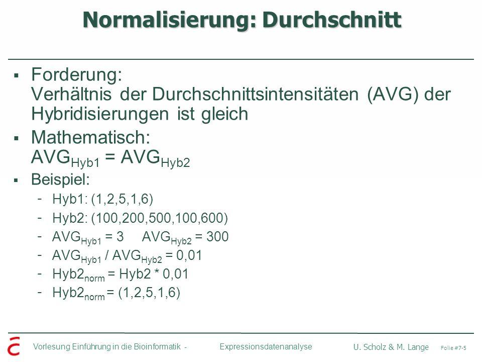 Normalisierung: Durchschnitt