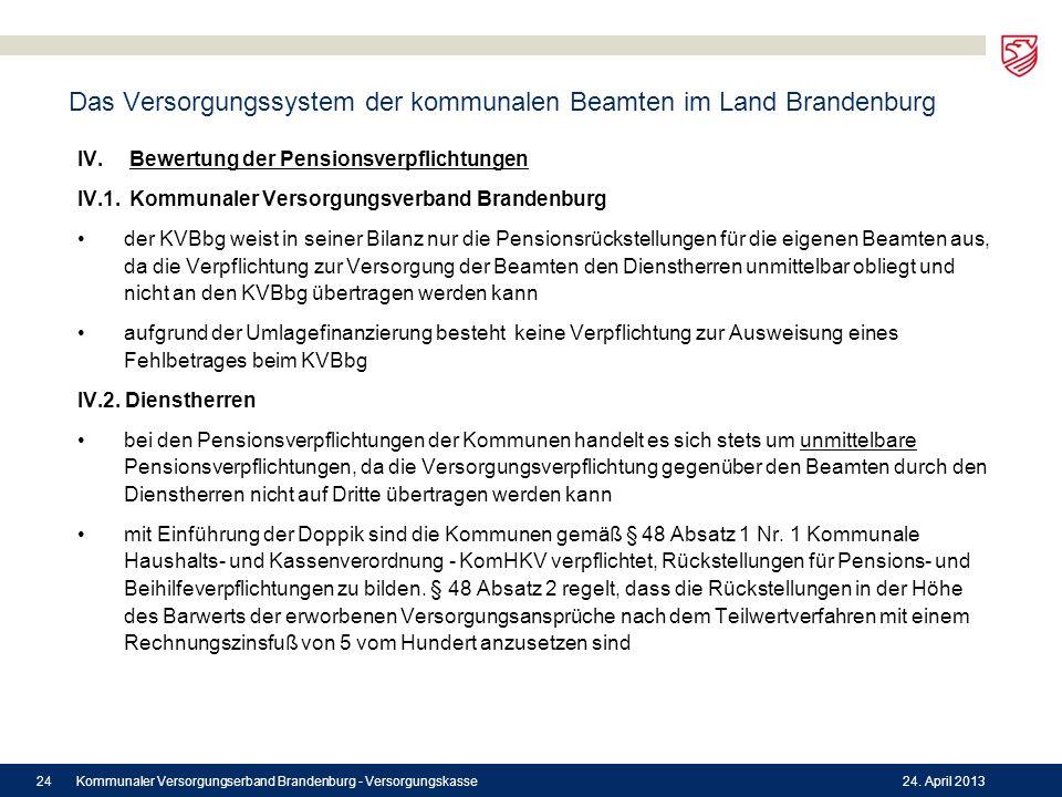 Das Versorgungssystem der kommunalen Beamten im Land Brandenburg