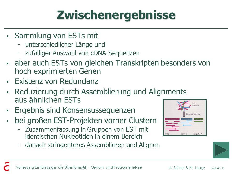 Zwischenergebnisse Sammlung von ESTs mit
