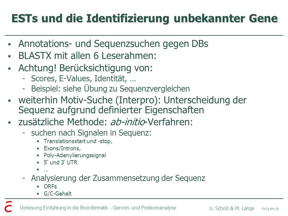 ESTs und die Identifizierung unbekannter Gene