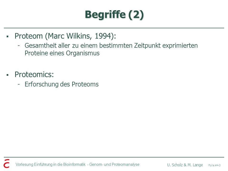 Begriffe (2) Proteom (Marc Wilkins, 1994): Proteomics: