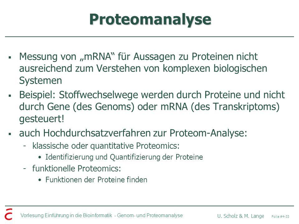"""Proteomanalyse Messung von """"mRNA für Aussagen zu Proteinen nicht ausreichend zum Verstehen von komplexen biologischen Systemen."""