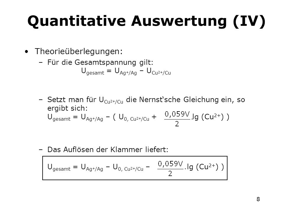 Quantitative Auswertung (IV)
