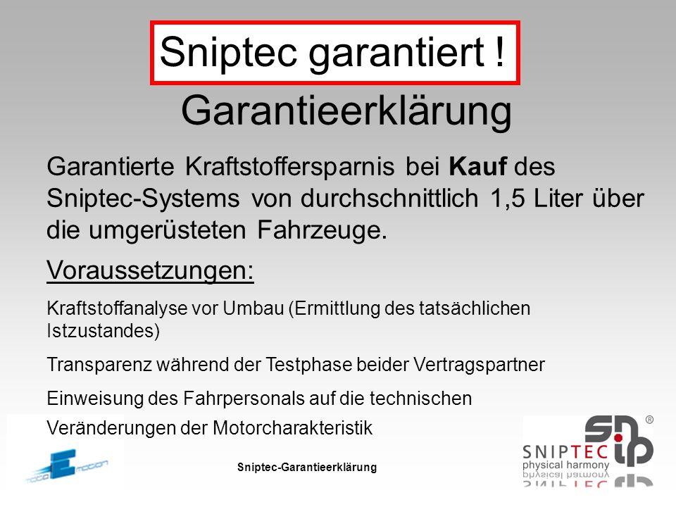 Sniptec-Garantieerklärung