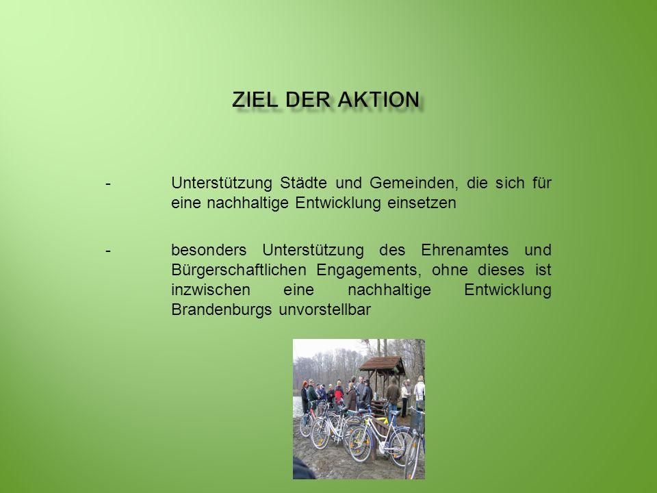 Ziel der Aktion - Unterstützung Städte und Gemeinden, die sich für eine nachhaltige Entwicklung einsetzen.