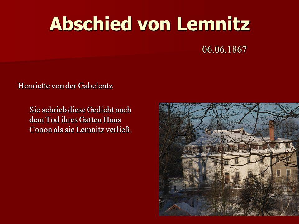Abschied von Lemnitz 06.06.1867 Henriette von der Gabelentz