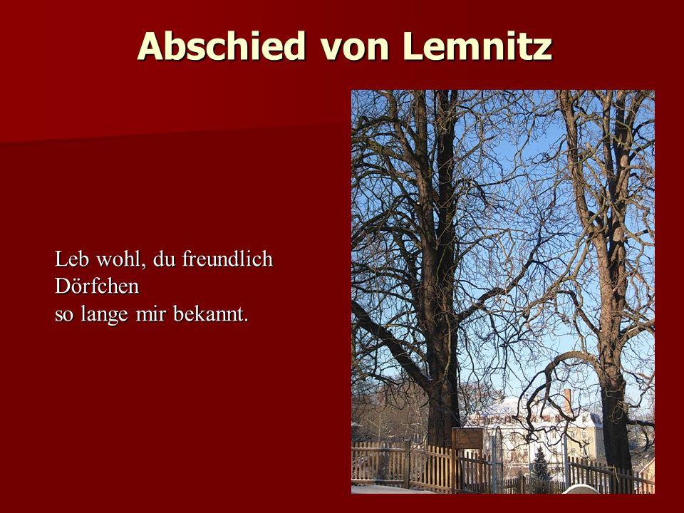 Abschied von Lemnitz 06.06.1867 Leb wohl, du freundlich Dörfchen