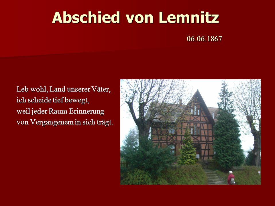 Abschied von Lemnitz 06.06.1867 Leb wohl, Land unserer Väter,