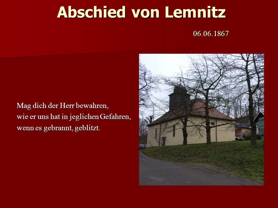 Abschied von Lemnitz 06.06.1867 Mag dich der Herr bewahren,