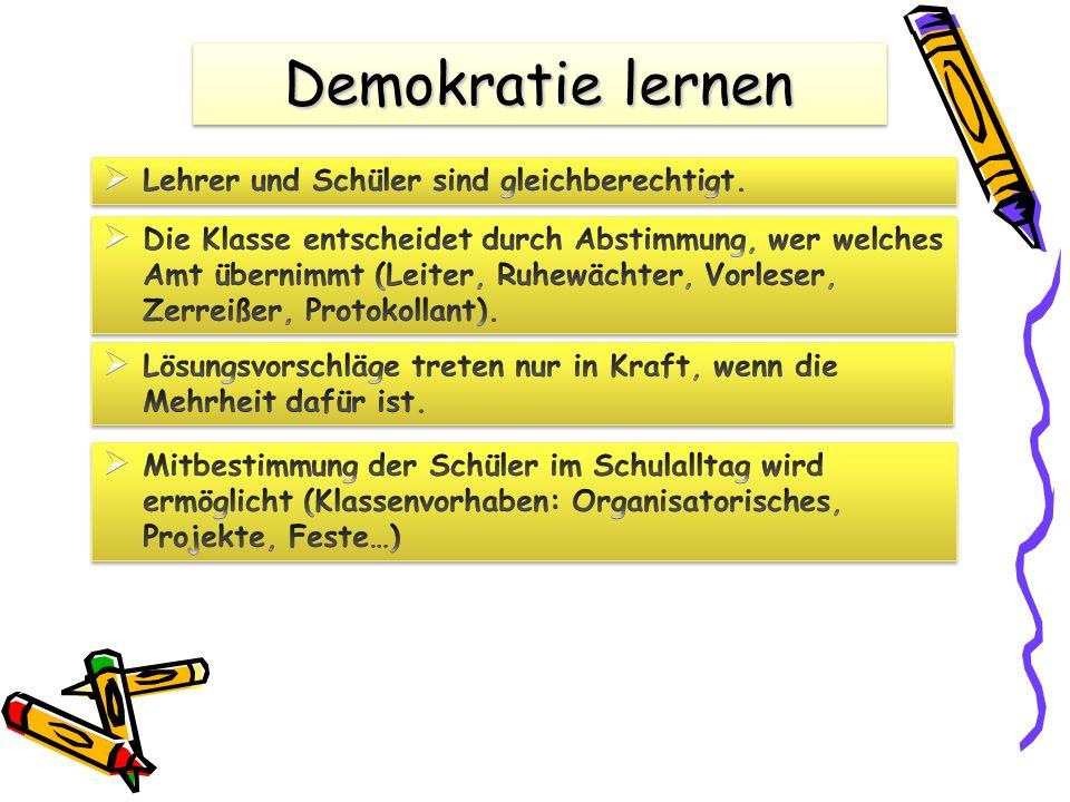 Demokratie lernen Lehrer und Schüler sind gleichberechtigt.