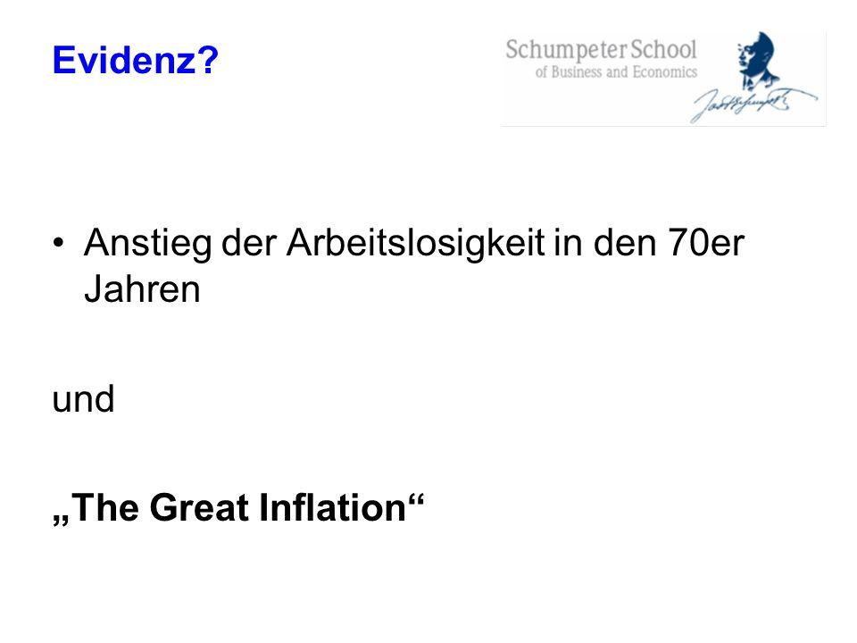"""Evidenz Anstieg der Arbeitslosigkeit in den 70er Jahren und """"The Great Inflation"""