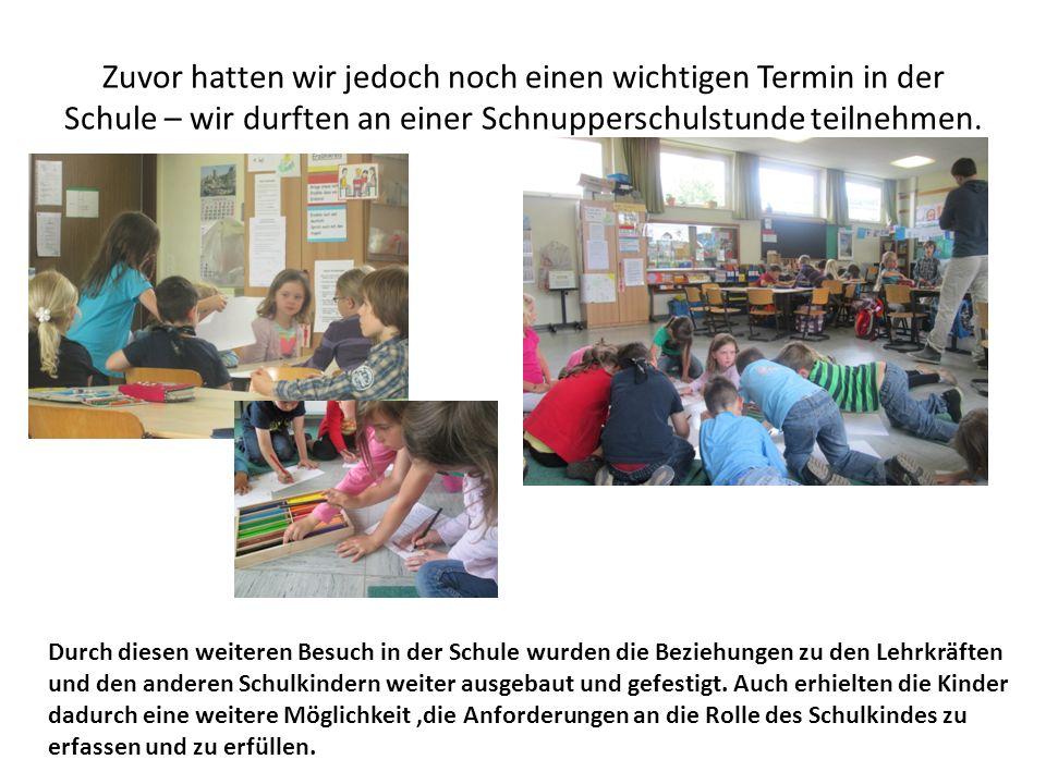 Zuvor hatten wir jedoch noch einen wichtigen Termin in der Schule – wir durften an einer Schnupperschulstunde teilnehmen.