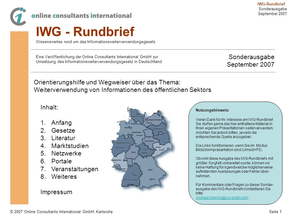 IWG - Rundbrief Sonderausgabe September 2007