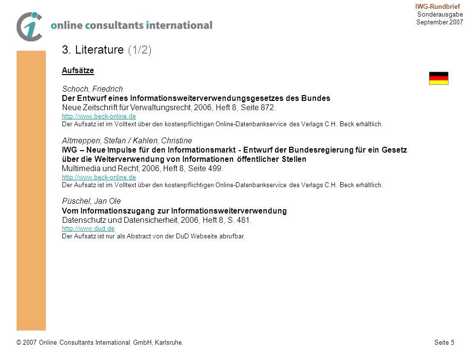 3. Literature (1/2) Aufsätze Schoch, Friedrich