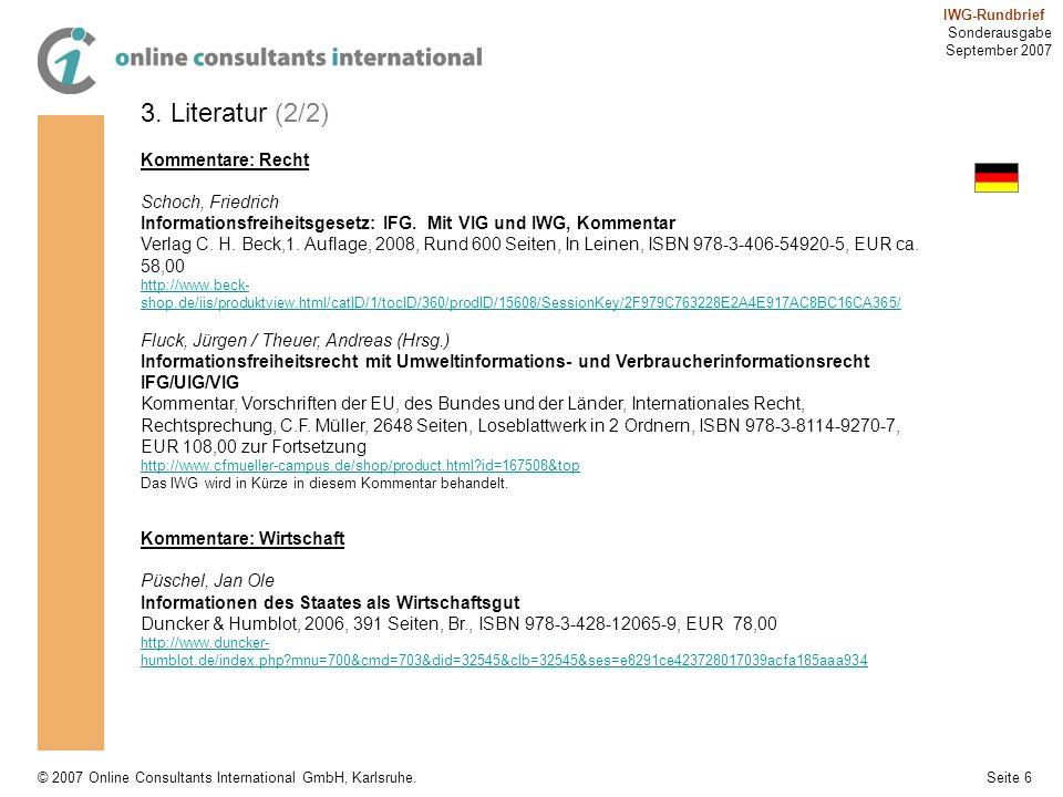 3. Literatur (2/2) Kommentare: Recht Schoch, Friedrich