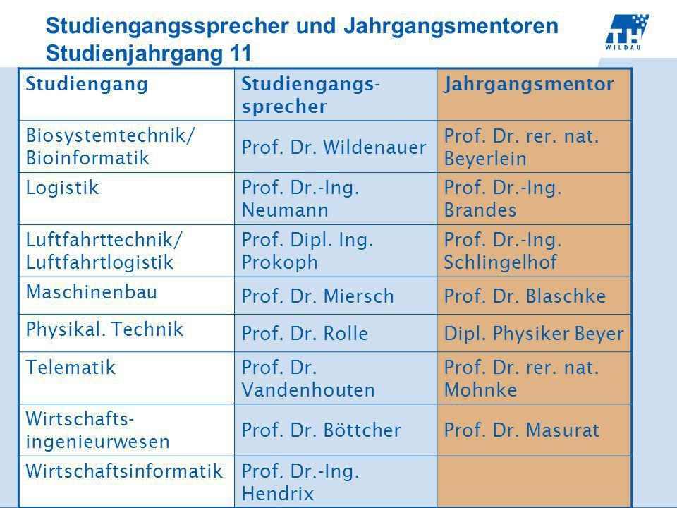 Studiengangssprecher und Jahrgangsmentoren Studienjahrgang 11