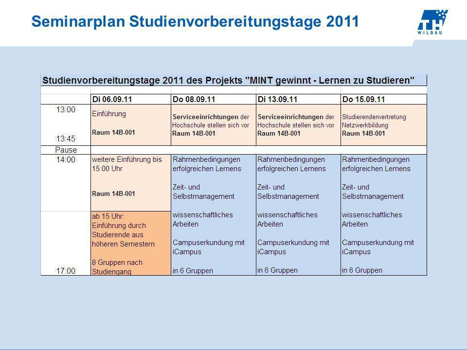 Seminarplan Studienvorbereitungstage 2011