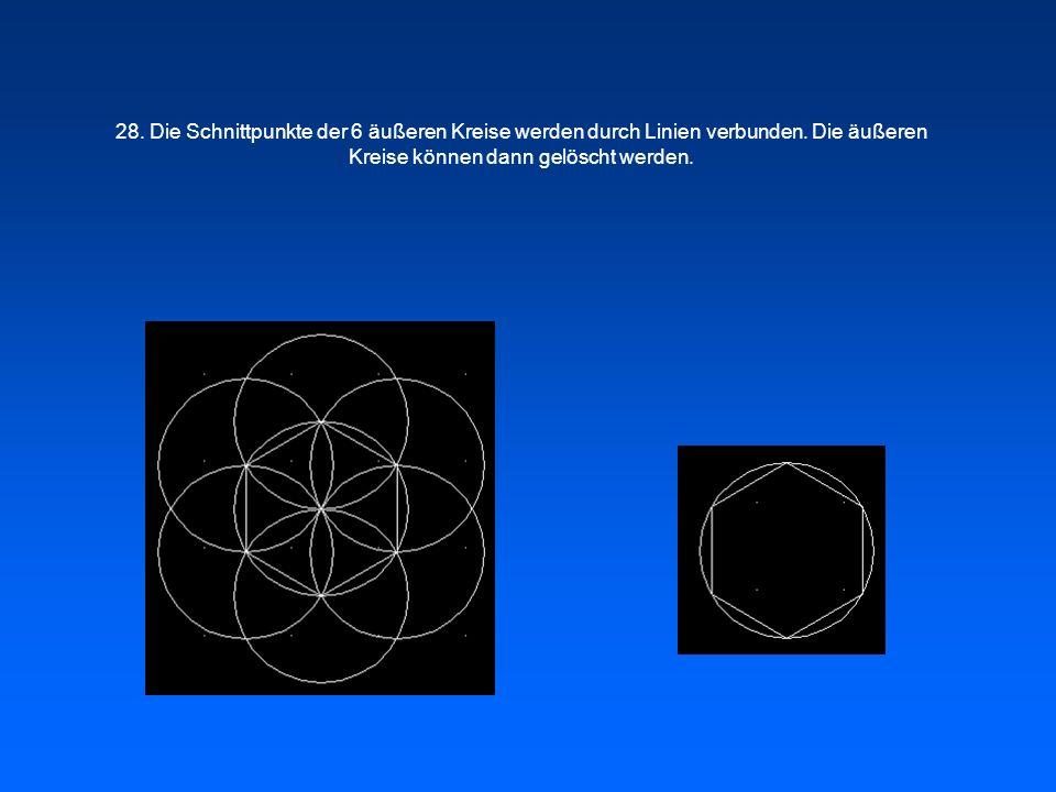 28. Die Schnittpunkte der 6 äußeren Kreise werden durch Linien verbunden.