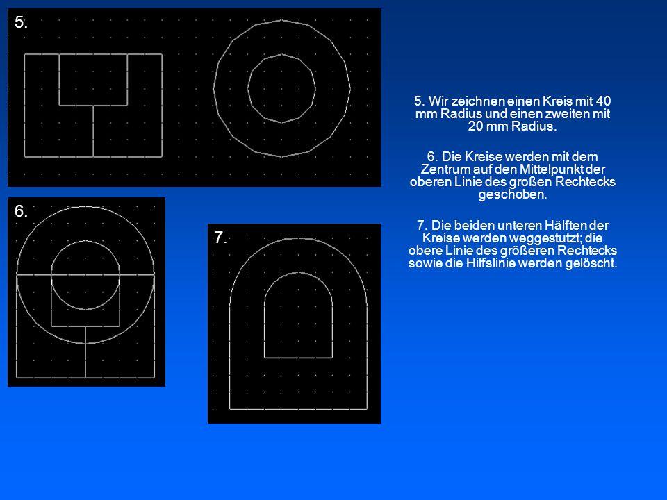 5. 5. Wir zeichnen einen Kreis mit 40 mm Radius und einen zweiten mit 20 mm Radius.