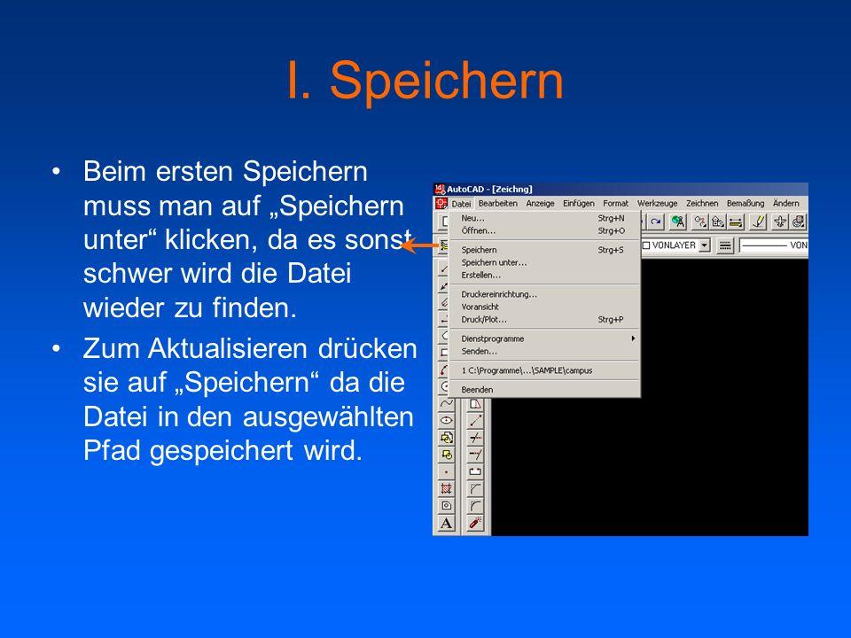 """I. SpeichernBeim ersten Speichern muss man auf """"Speichern unter klicken, da es sonst schwer wird die Datei wieder zu finden."""