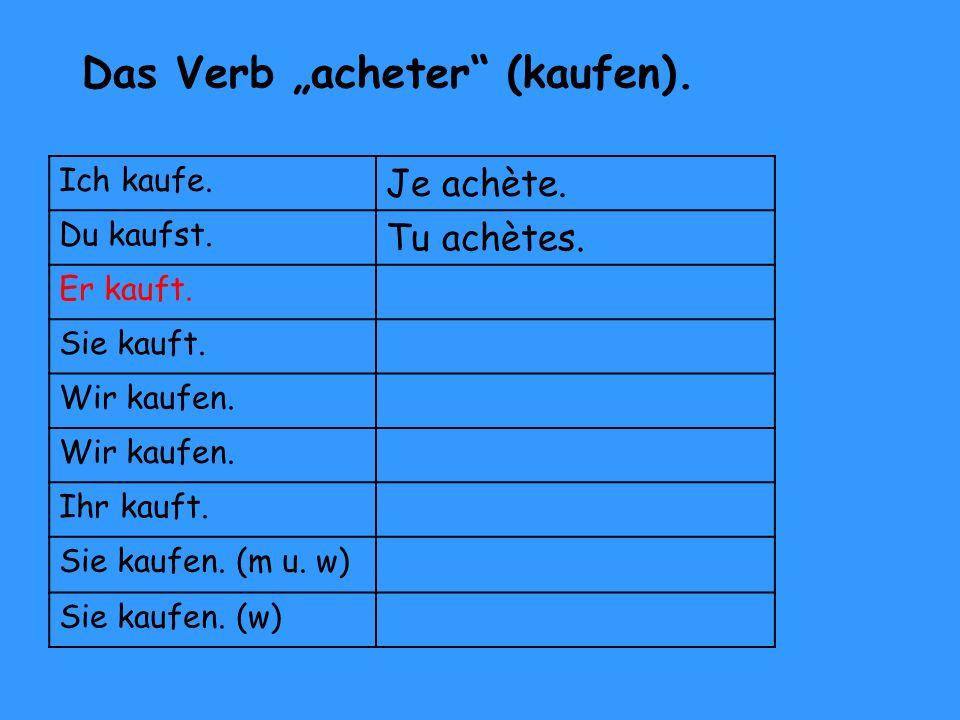 """Das Verb """"acheter (kaufen)."""