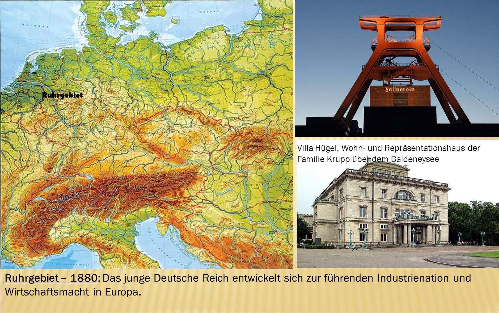 Ruhrgebiet Villa Hügel, Wohn- und Repräsentationshaus der Familie Krupp über dem Baldeneysee.