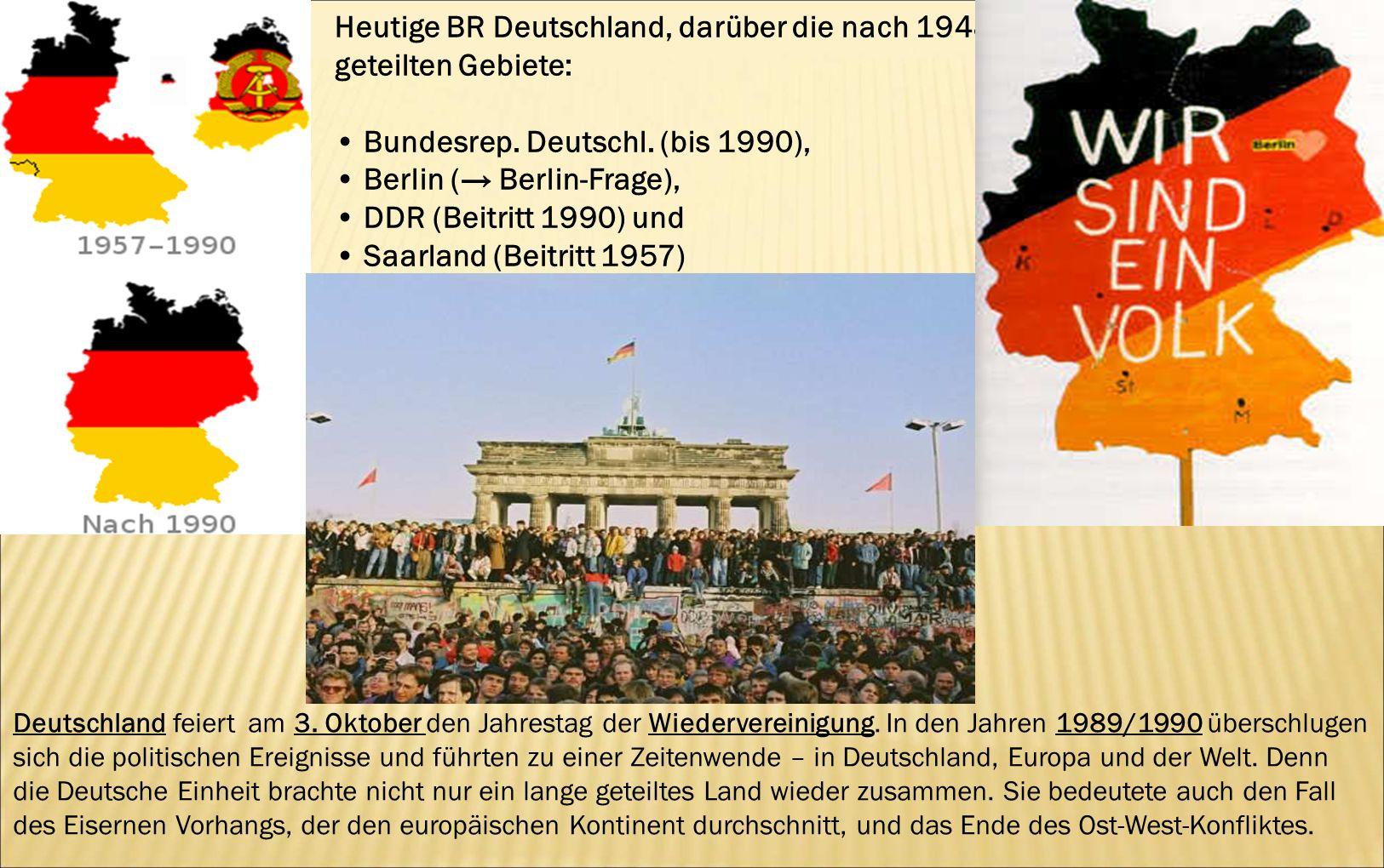Heutige BR Deutschland, darüber die nach 1948 geteilten Gebiete: