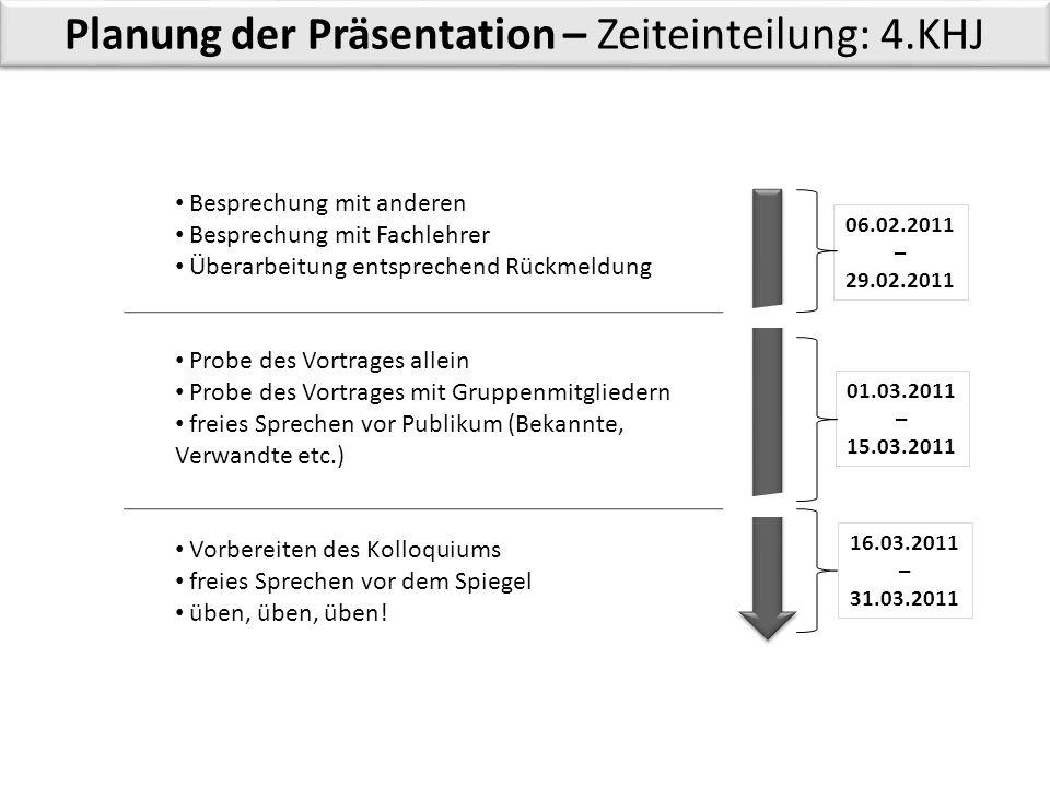 Planung der Präsentation – Zeiteinteilung: 4.KHJ