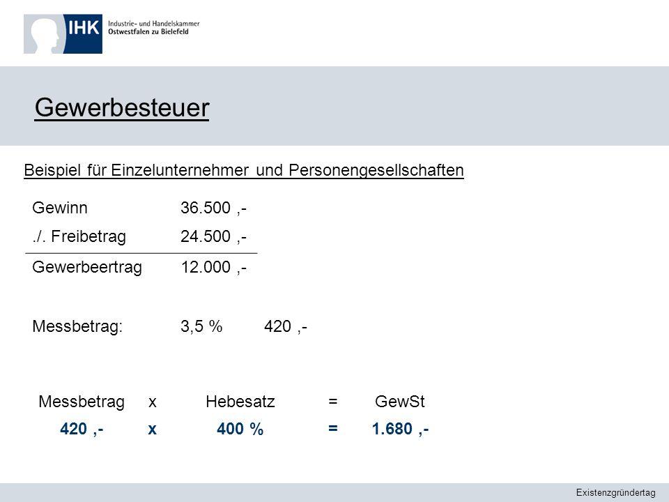 GewerbesteuerBeispiel für Einzelunternehmer und Personengesellschaften. Gewinn. ./. Freibetrag. 36.500 ,-